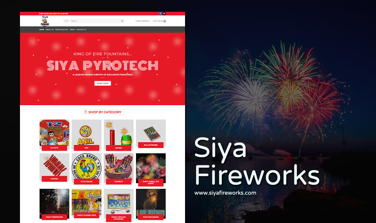 fireworks company website design