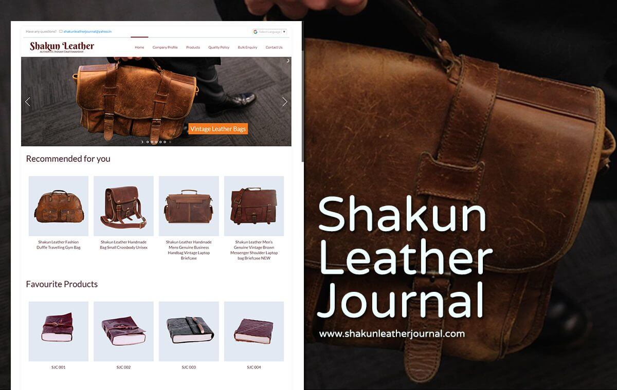 leather journal bags website design