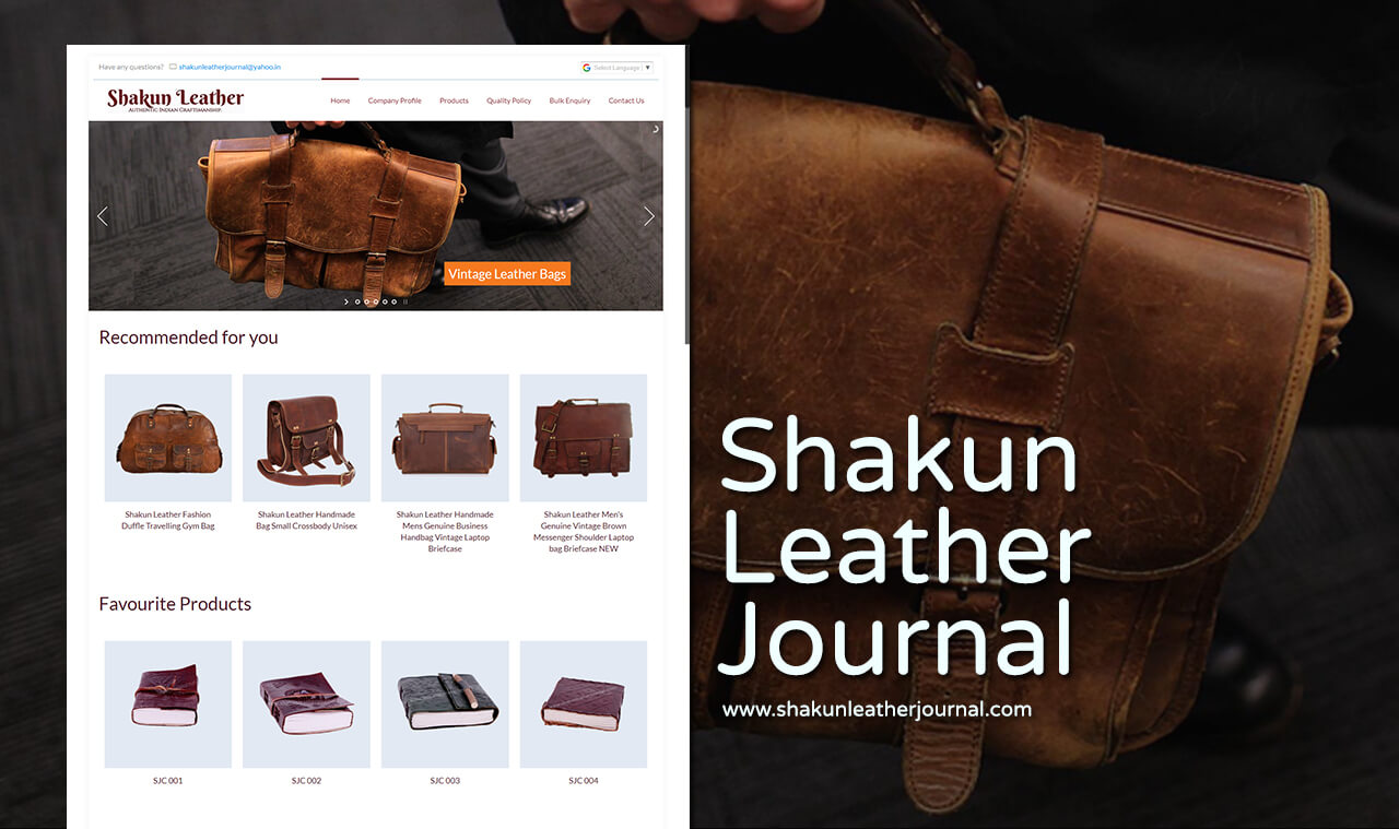 leather journal bags website design