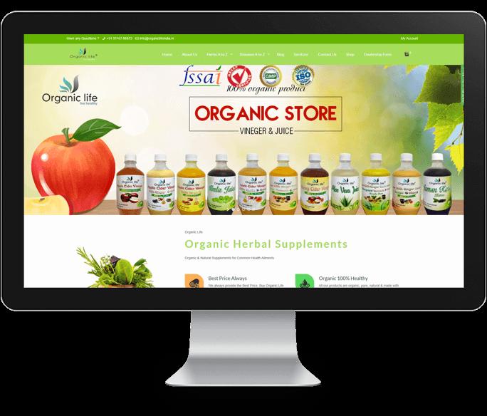 organic product website design