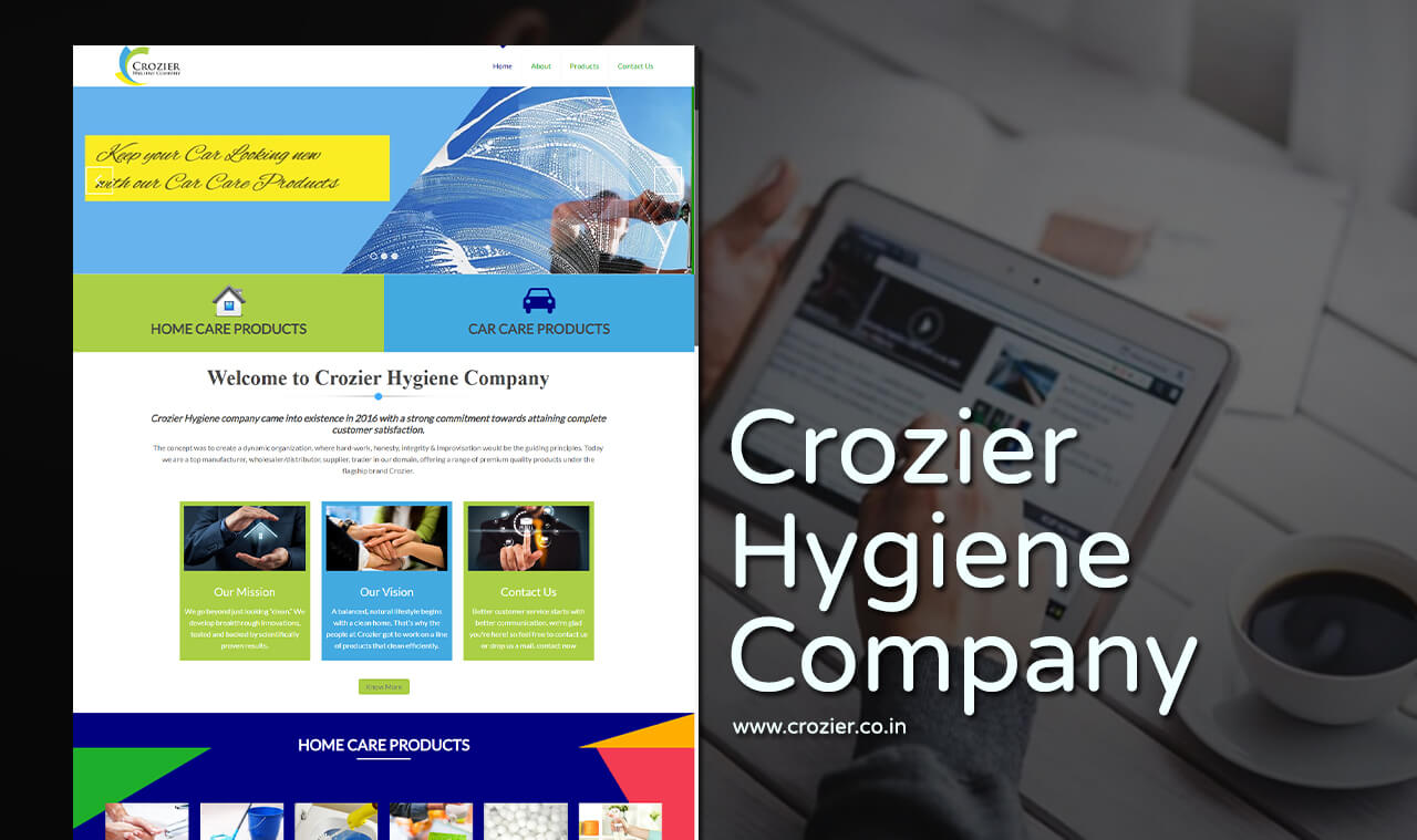 home care products website design