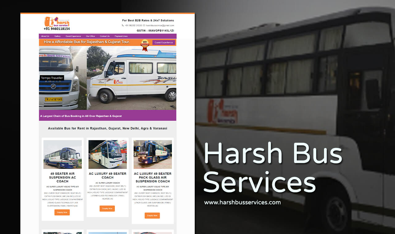 luxury bus car services website design