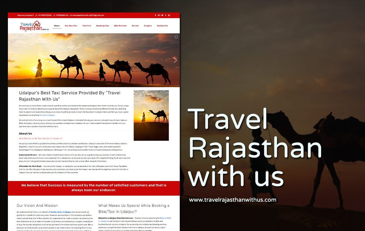 travel tour package website design