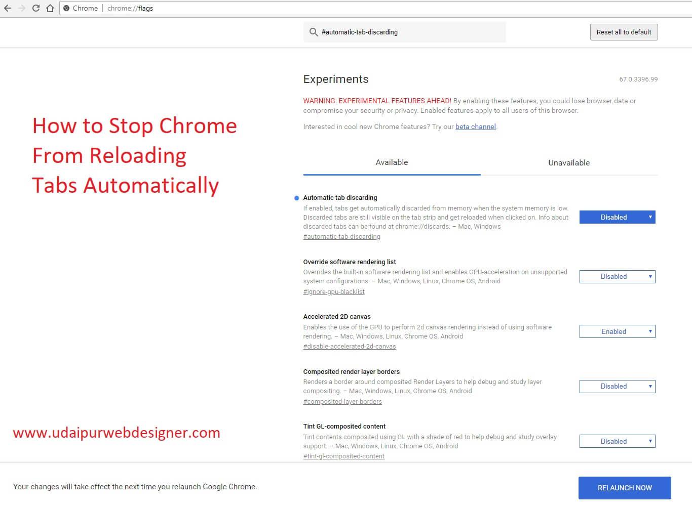 Google Chrome auto refresh tab disable