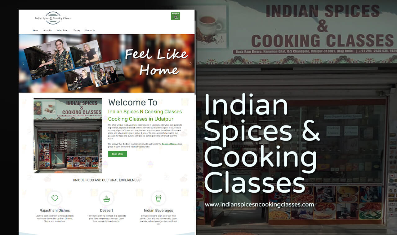 cooking classes website design