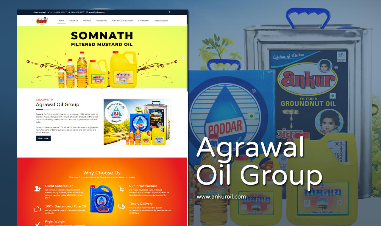 cooking oil website design